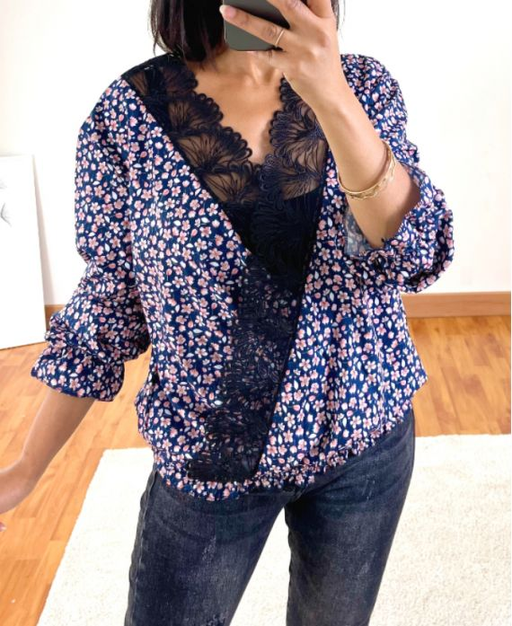 DRAPEE FLOWER AND LACE BLOUSE 9892 NAVY BLUE