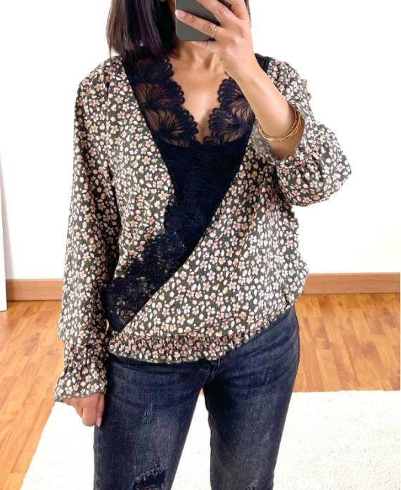 FLORAL AND LACE DRAPE BLOUSE 9892 MILITARY GREEN