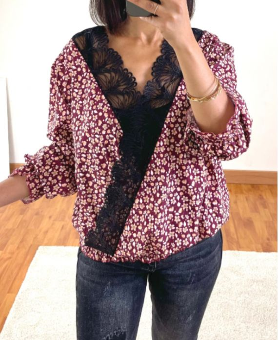 FLOWER AND LACE DRAPE BLOUSE 9892 BURGUNDY