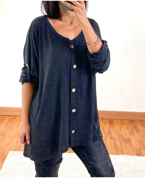 DELAVE EFFECT OVERSIZED SWEATER WITH BUTTONS 20258 BLACK