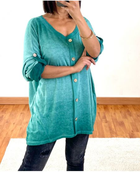 PULL OVERSIZE EFFET DELAVE A BOUTONS 20258 VERT