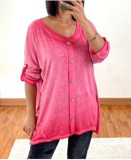 DELAVE EFFECT OVERSIZED SWEATER WITH BUTTONS 20258 RED