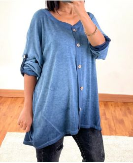 DELAVE EFFECT OVERSIZED SWEATER WITH BUTTONS 20258 BLUE
