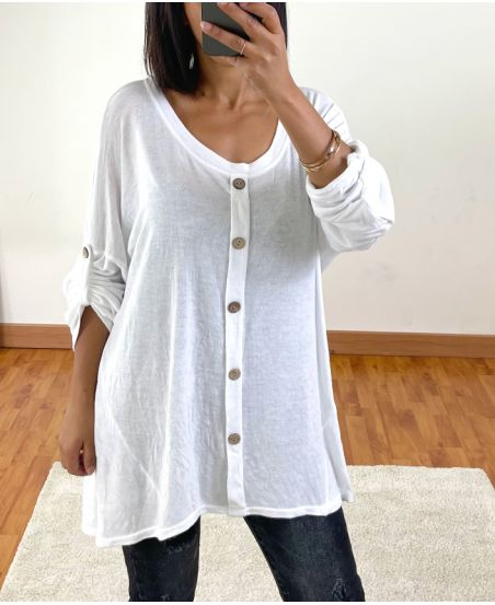 PULL OVERSIZE EFFET DELAVE A BOUTONS 20258 BLANC