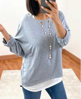 SWEATER 2 PIECES JEWEL INTEGRATED 8372 GREY