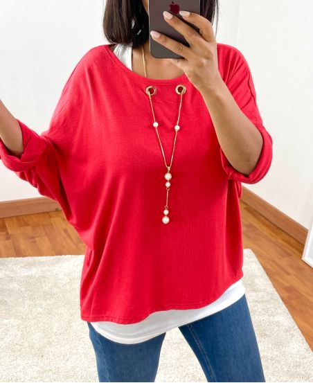 SWEATER 2 PIECES JEWEL INTEGRATED 8372 RED
