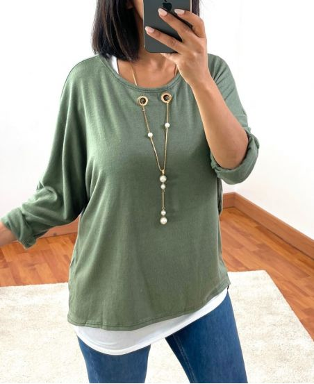 SWEATER 2 PIECES JEWEL INTEGRE 8372 MILITARY GREEN