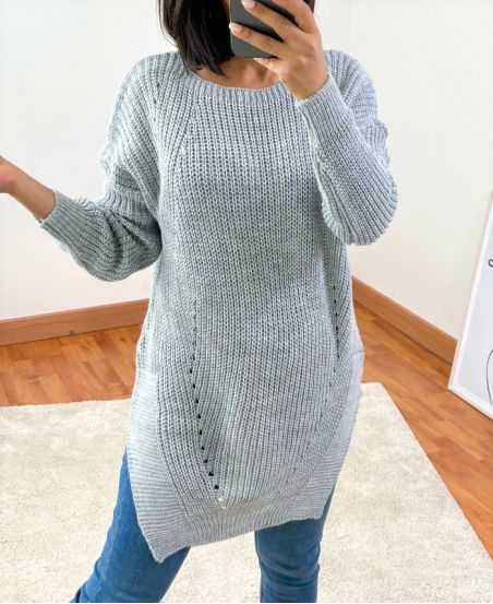 PULLOVER LONG 953 GRIS CLAIR