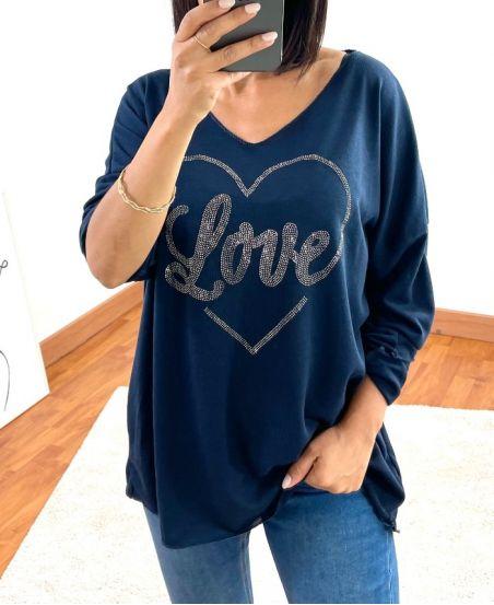 SWEATER LOVE STRASS 20327 MARINEBLAUW