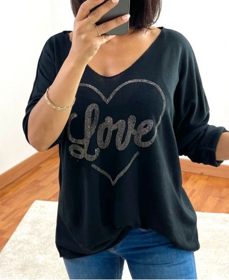 SWEATER LOVE STRASS 20327 ZWART