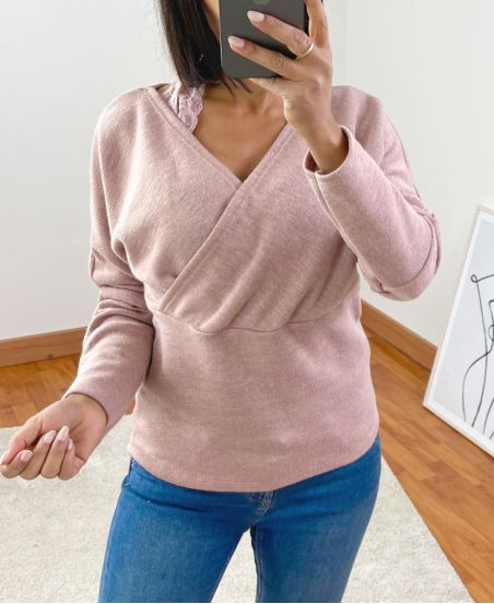 SWEATER LACE EFFECT 2 IN 1 9739 PINK