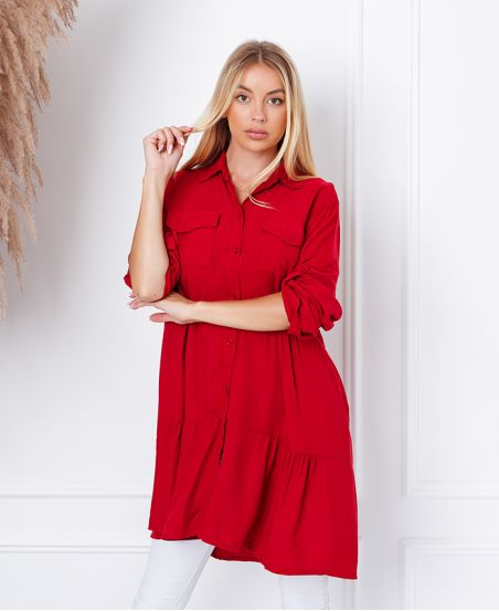 EVASEE DRESS WITH POCKETS 9351 BURGUNDY