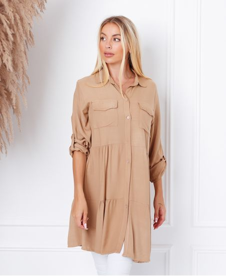 EVASEE DRESS WITH POCKETS 9351 CAMEL