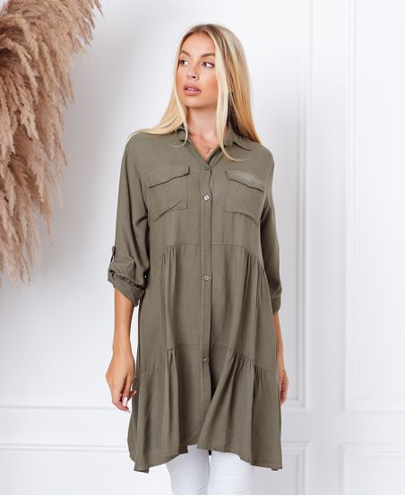 EVASEE DRESS WITH POCKETS 9351 MILITARY GREEN