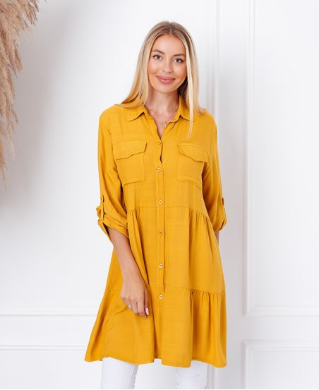 EVASEE DRESS WITH POCKETS 9351 MUSTARD
