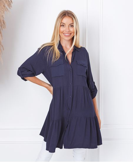 EVASEE DRESS WITH POCKETS 9351 NAVY BLUE