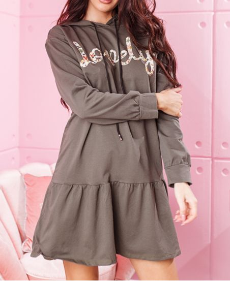 OVERSIZE DRESS HOODIE LOVELY 7854 MILITARY GREEN