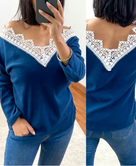 SWEATER SOFT LACE 1477 NAVY BLUE