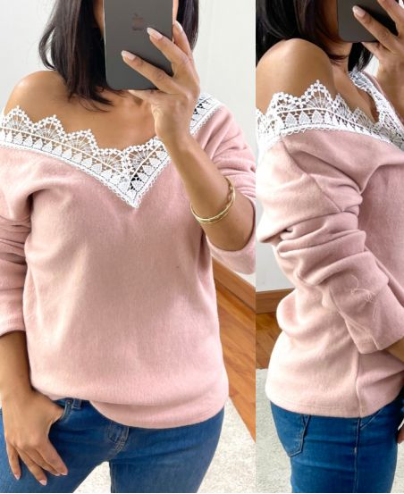 SWEET LACE PULLOVER 1477 ROSA