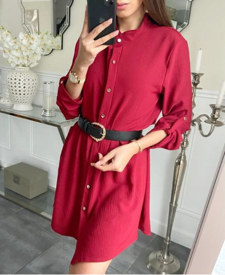 LOOSE SHIRT DRESS WITH BUTTONS 7993 BURGUNDY