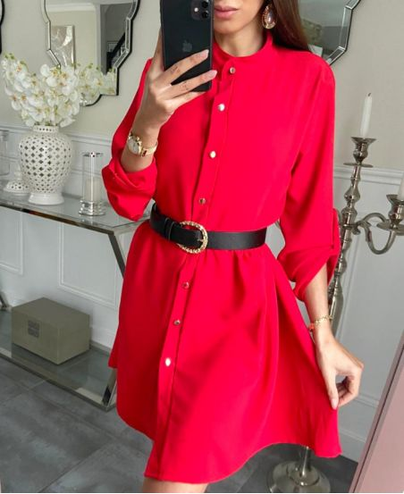 LOOSE SHIRT DRESS WITH BUTTONS 7993 RED