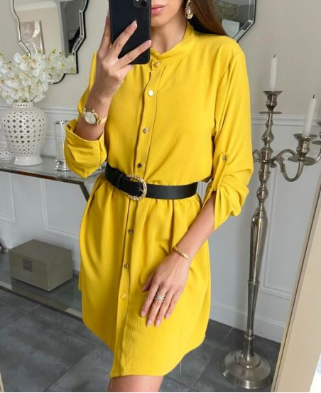 LOOSE SHIRT DRESS WITH BUTTONS 7993 MUSTARD