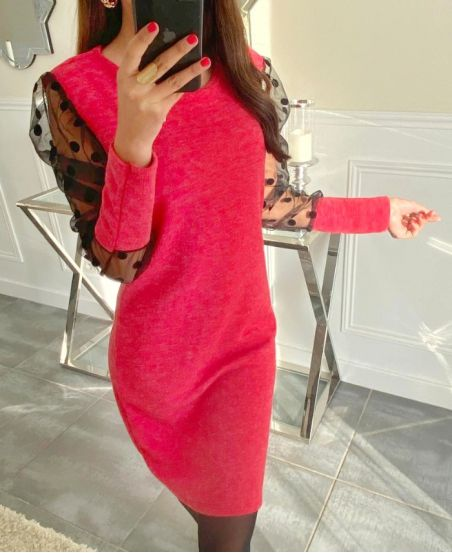LACE SLEEVE DRESS 9231 RED