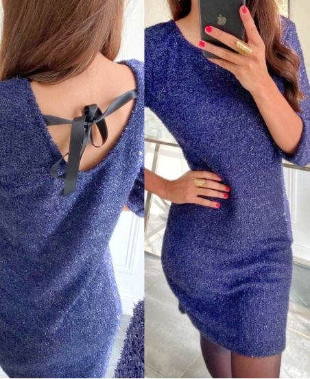 TIE BACK DRESS 8296 NAVY BLUE