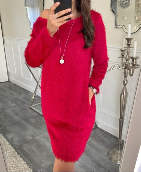 DRESS 2 POCKETS + COLLAR OFFERT5417 RED
