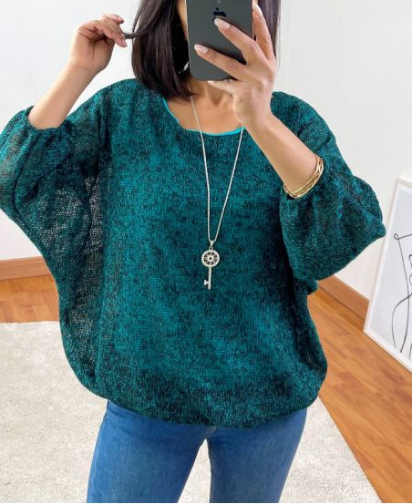ELASTIC BASE SWEATER + NECKLACE 3680 GREEN